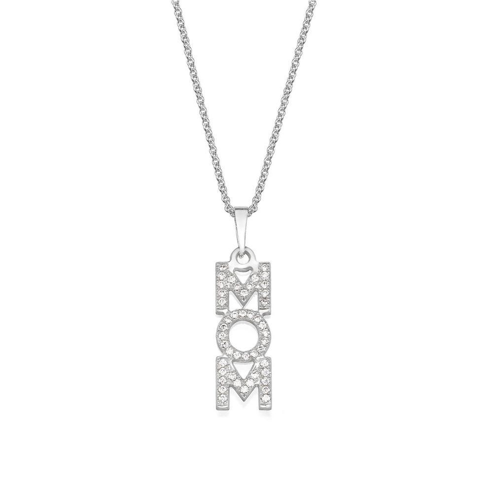 תליוני זהב | שרשרת mom מזהב לבן 14 קראט  -  אנכי זירקונים