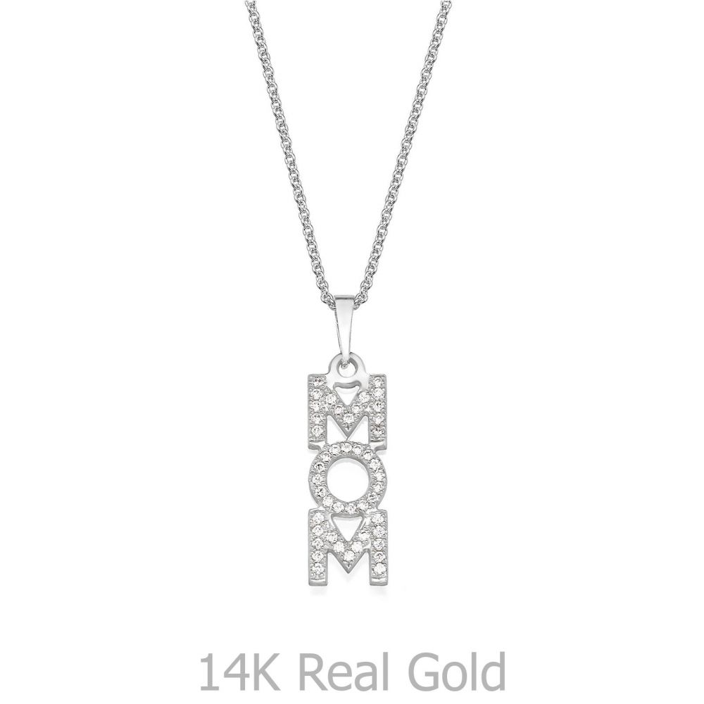 תליוני זהב | שרשרת MOM מזהב לבן 14 קראט  -  אנכי יהלומים
