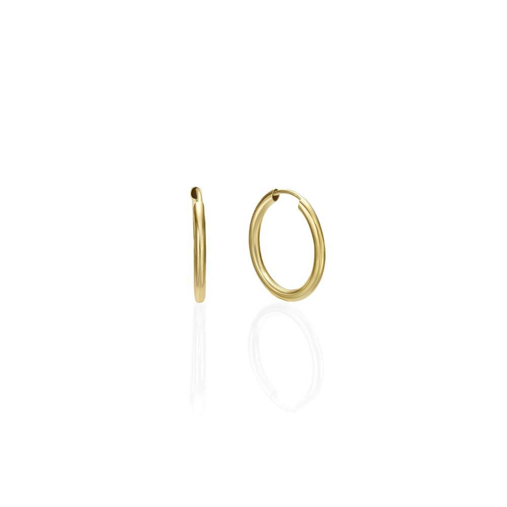 עגילי זהב | עגילי חישוק פלקסי מזהב צהוב 14 קראט - S