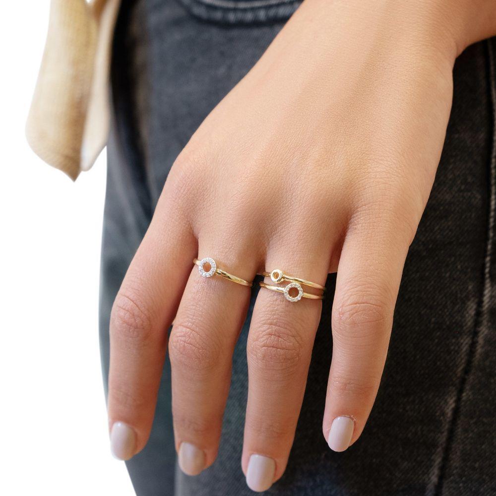 תכשיטי זהב לנשים | טבעת מזהב צהוב 14 קראט -  עיגול מנצנץ