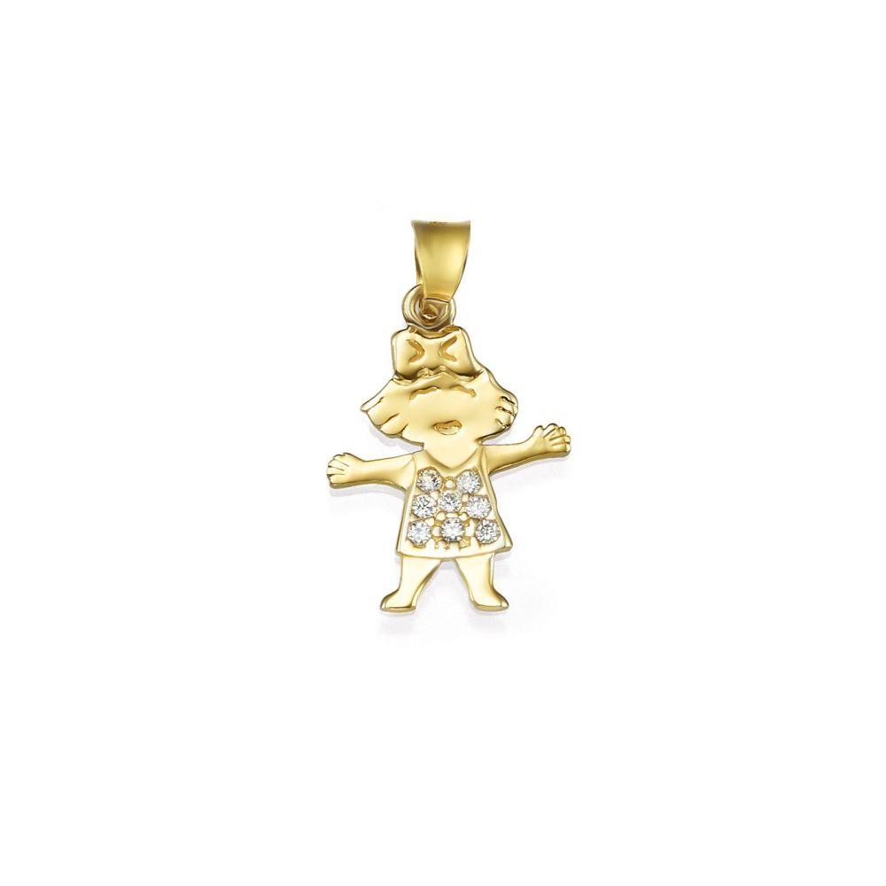 תכשיטי זהב לנשים | תליון מזהב צהוב 14 קראט - ילדה בל