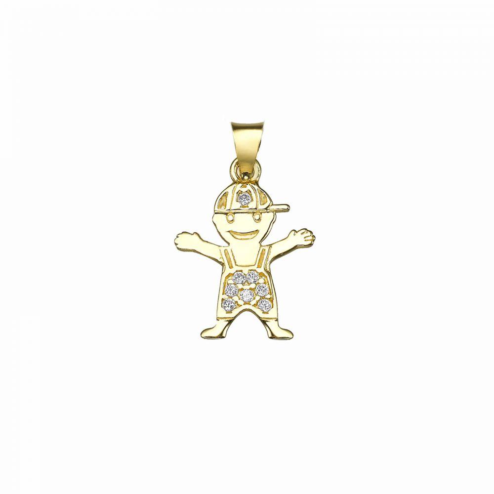 תכשיטי זהב לנשים | תליון מזהב צהוב 14 קראט -ילד מתוק