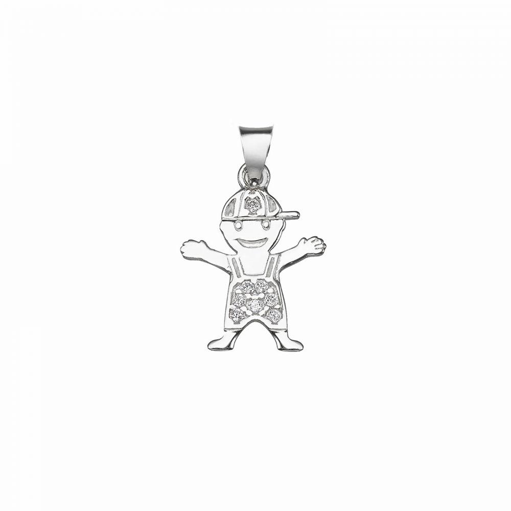 תכשיטי זהב לנשים | תליון מזהב לבן 14 קראט - ילד מתוק