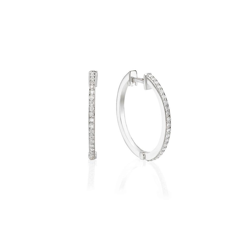 תכשיטי יהלומים | עגילי חישוק יהלומים מזהב לבן 14 קראט - ליידי M