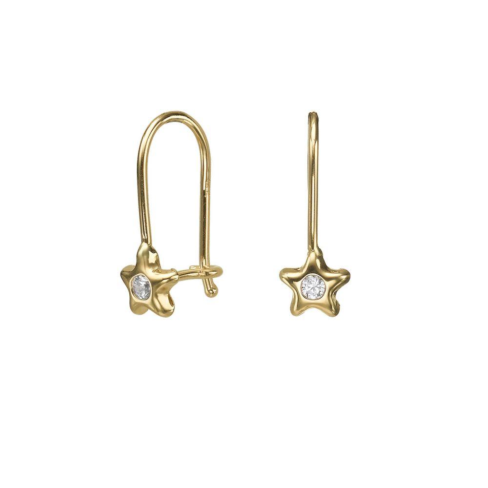 תכשיטים מזהב לילדות   עגילים תלויים מזהב צהוב 14 קראט - כוכב נפטון