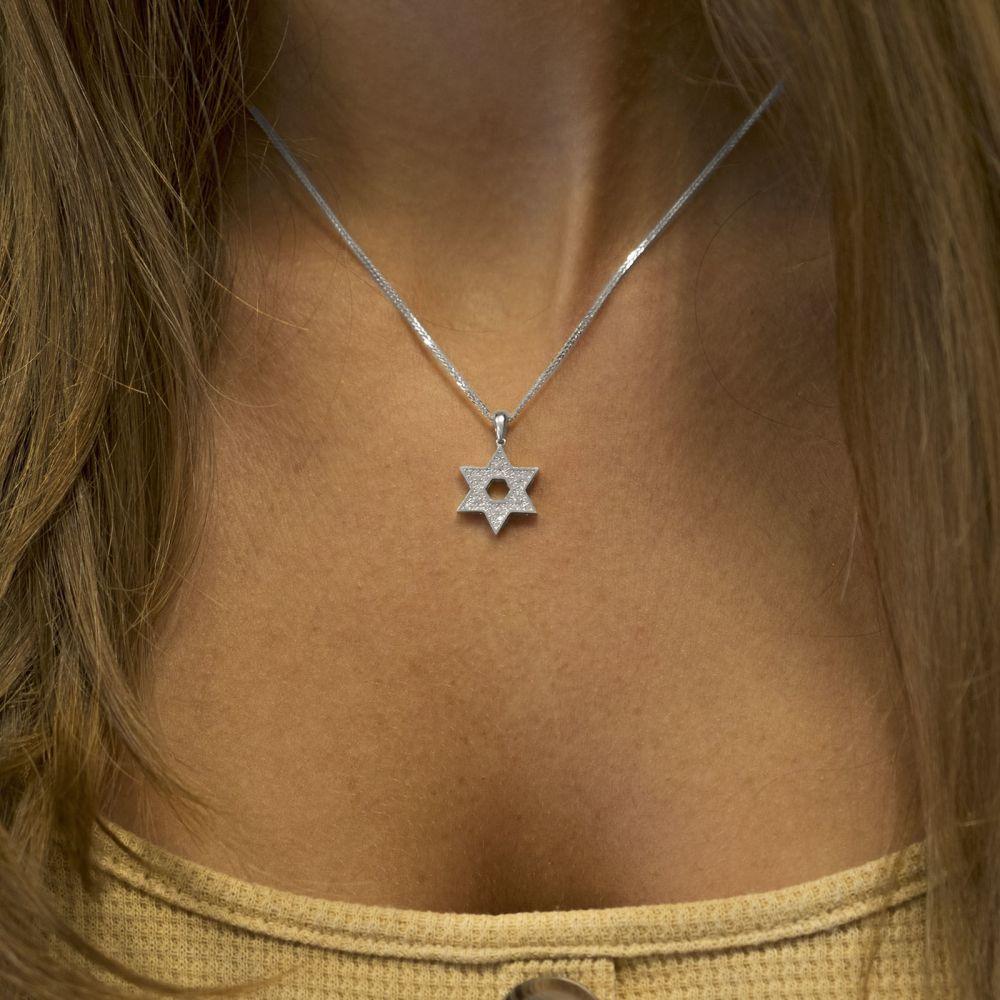 תכשיטי זהב לנשים   תליון מזהב לבן 14 קראט - מגן דוד מנצנץ