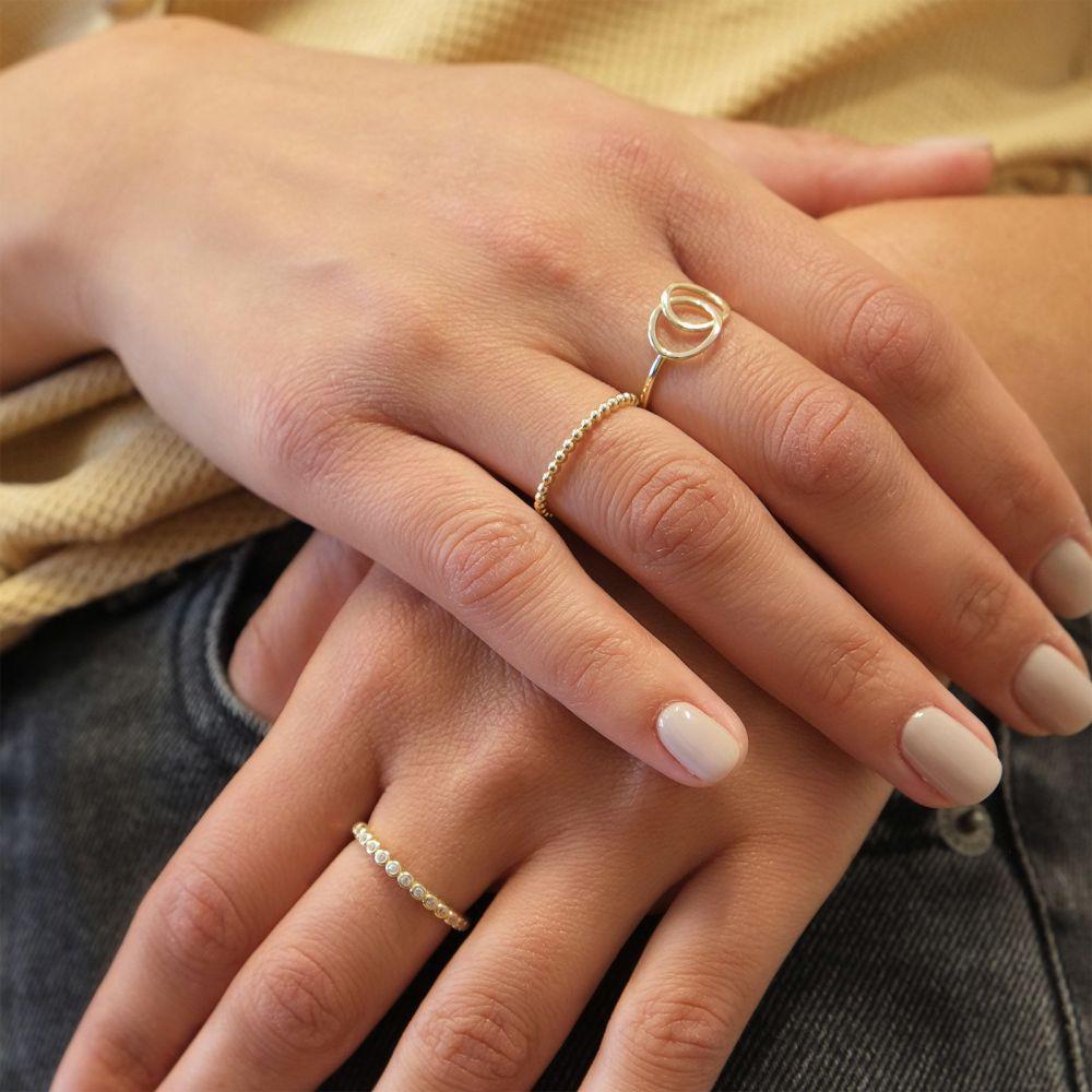 תכשיטי זהב לנשים | טבעת מזהב צהוב 14 קראט - עיגולי ג'ין גדולים