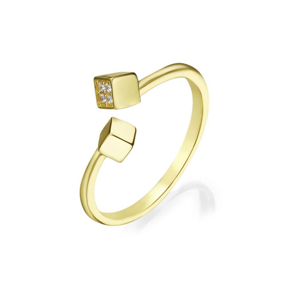 תכשיטי זהב לנשים | טבעת פתוחה מזהב צהוב 14 קראט - פירנצה