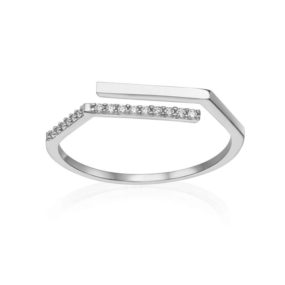 תכשיטי זהב לנשים | טבעת פתוחה מזהב לבן 14 קראט - לוריאן