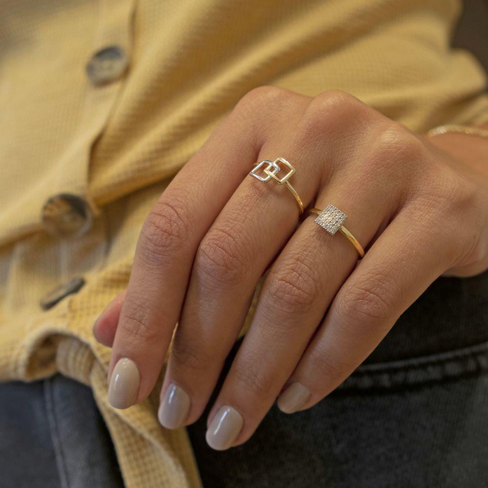 תכשיטי זהב לנשים   טבעת מזהב צהוב 14 קראט -  ריבוע פירנצה