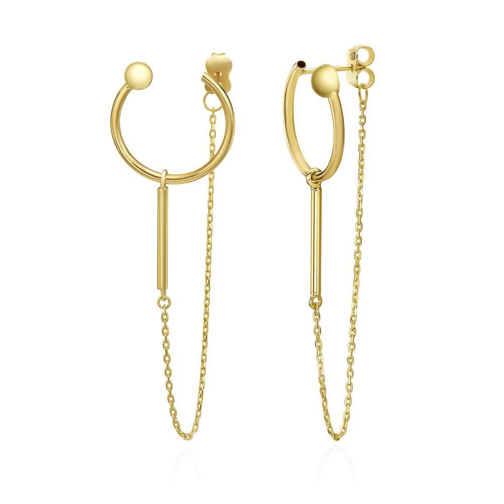תכשיטי זהב לנשים | עגילים תלויים מזהב צהוב 14 קראט - ויולה