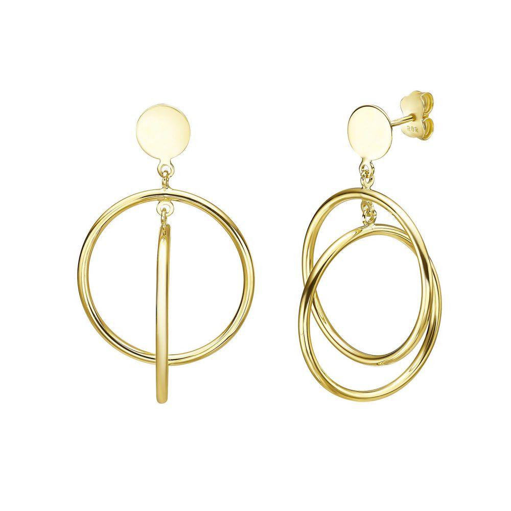 תכשיטי זהב לנשים | עגילים תלויים מזהב צהוב 14 קראט - ספרטה