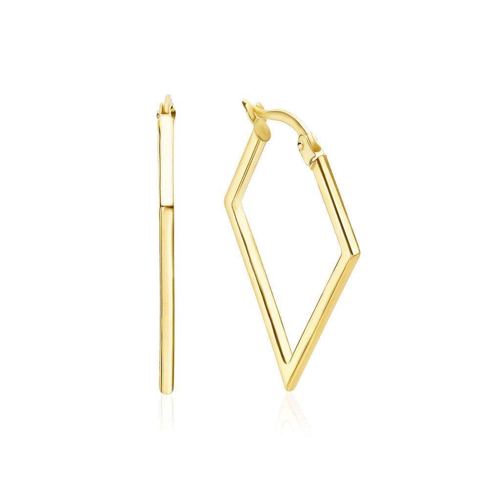 תכשיטי זהב לנשים | עגילים תלויים מזהב צהוב 14 קראט - ברזיל