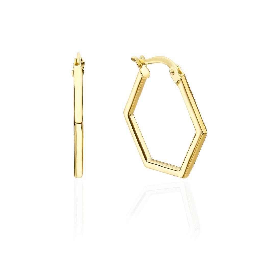 תכשיטי זהב לנשים | עגילים תלויים מזהב צהוב 14 קראט - ברצלונה