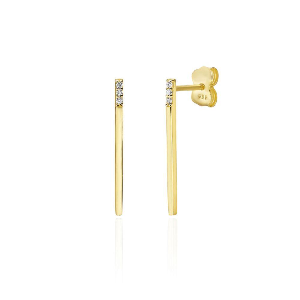 תכשיטי זהב לנשים | עגילים צמודים מזהב צהוב 14 קראט - בר זהב מנצנץ