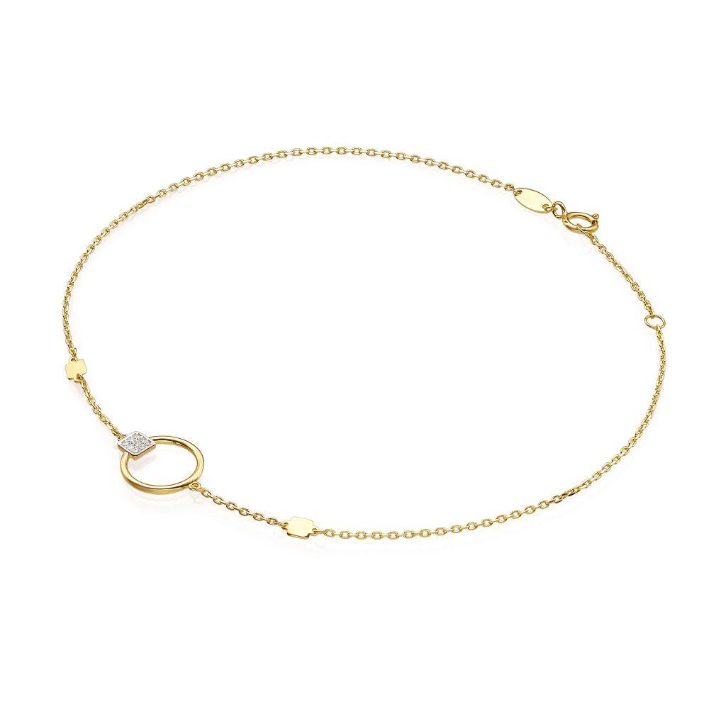 תכשיטי זהב לנשים | צמיד רגל לאישה מזהב צהוב 14 קראט - עיגול סברינה
