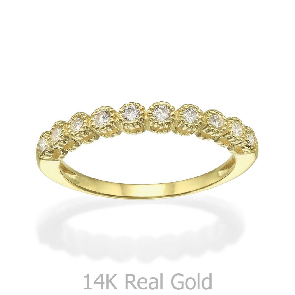 תכשיטי יהלומים | טבעת יהלום מזהב צהוב 14 קראט - איזבל