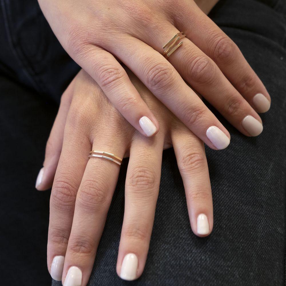 תכשיטי זהב לנשים | טבעת מזהב צהוב ולבן 14 קראט - מילאן