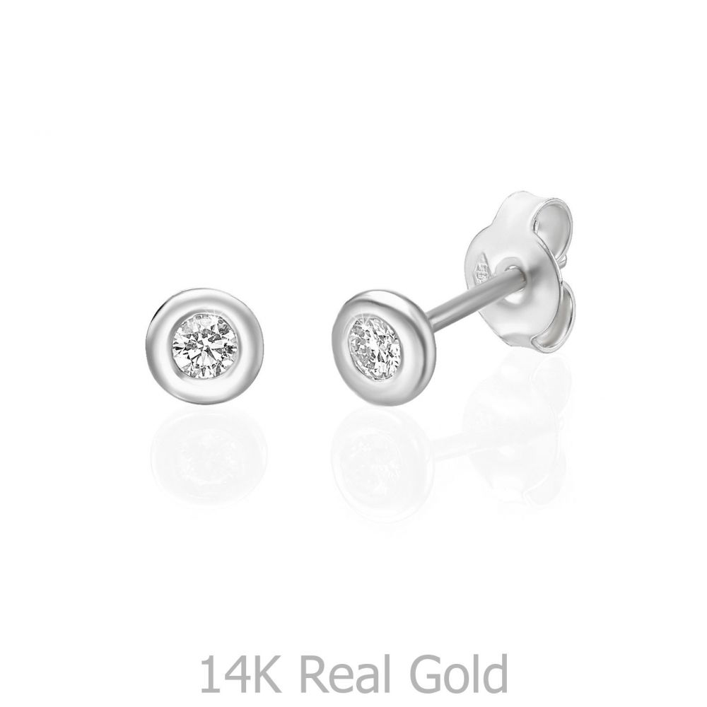 תכשיטי יהלומים | עגילי יהלום צמודים מזהב לבן 14 קראט - קלואי