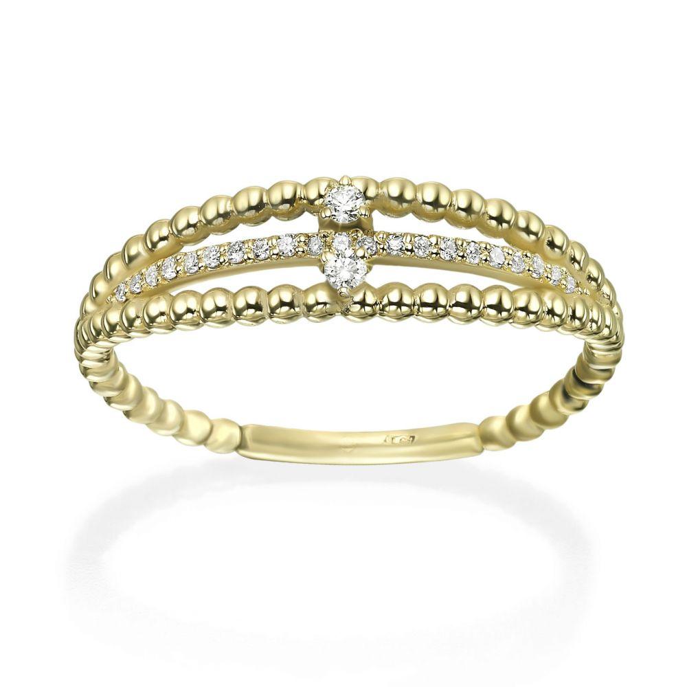 תכשיטי יהלומים | טבעת יהלום מזהב צהוב 14 קראט - דסטני