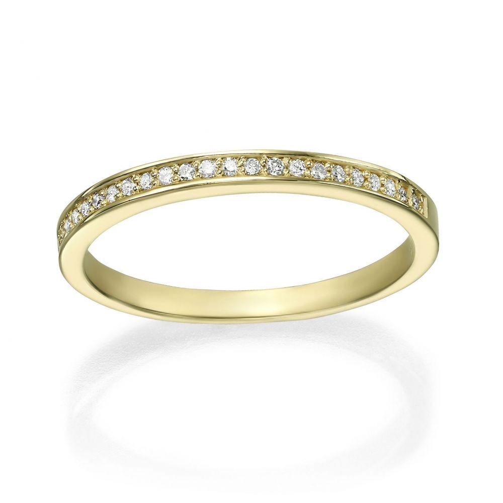 תכשיטי יהלומים | טבעת יהלום מזהב צהוב 14 קראט - מלודיה
