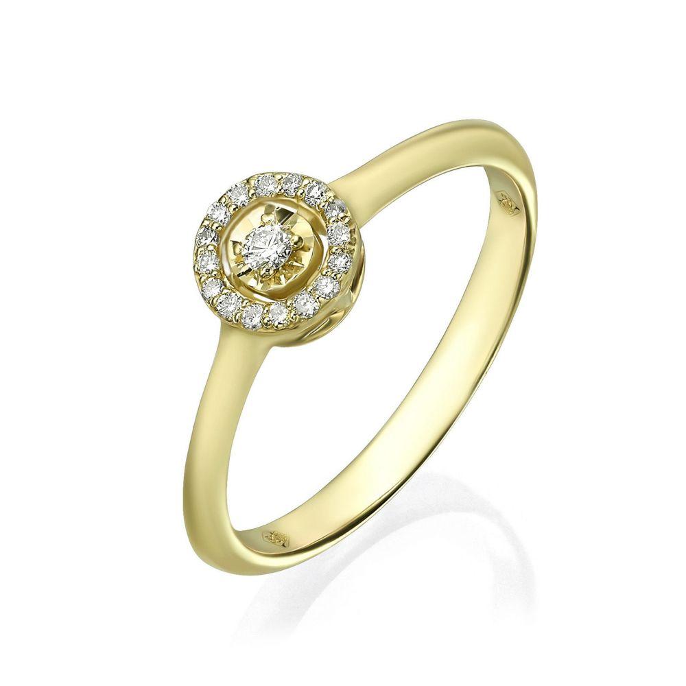תכשיטי יהלומים | טבעת יהלום מזהב צהוב 14 קראט - הארלי