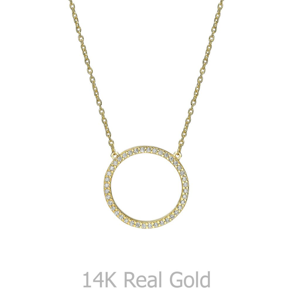 תכשיטי זהב לנשים | שרשרת ותליון מזהב צהוב 14 קראט - מעגל החיים מנצנץ
