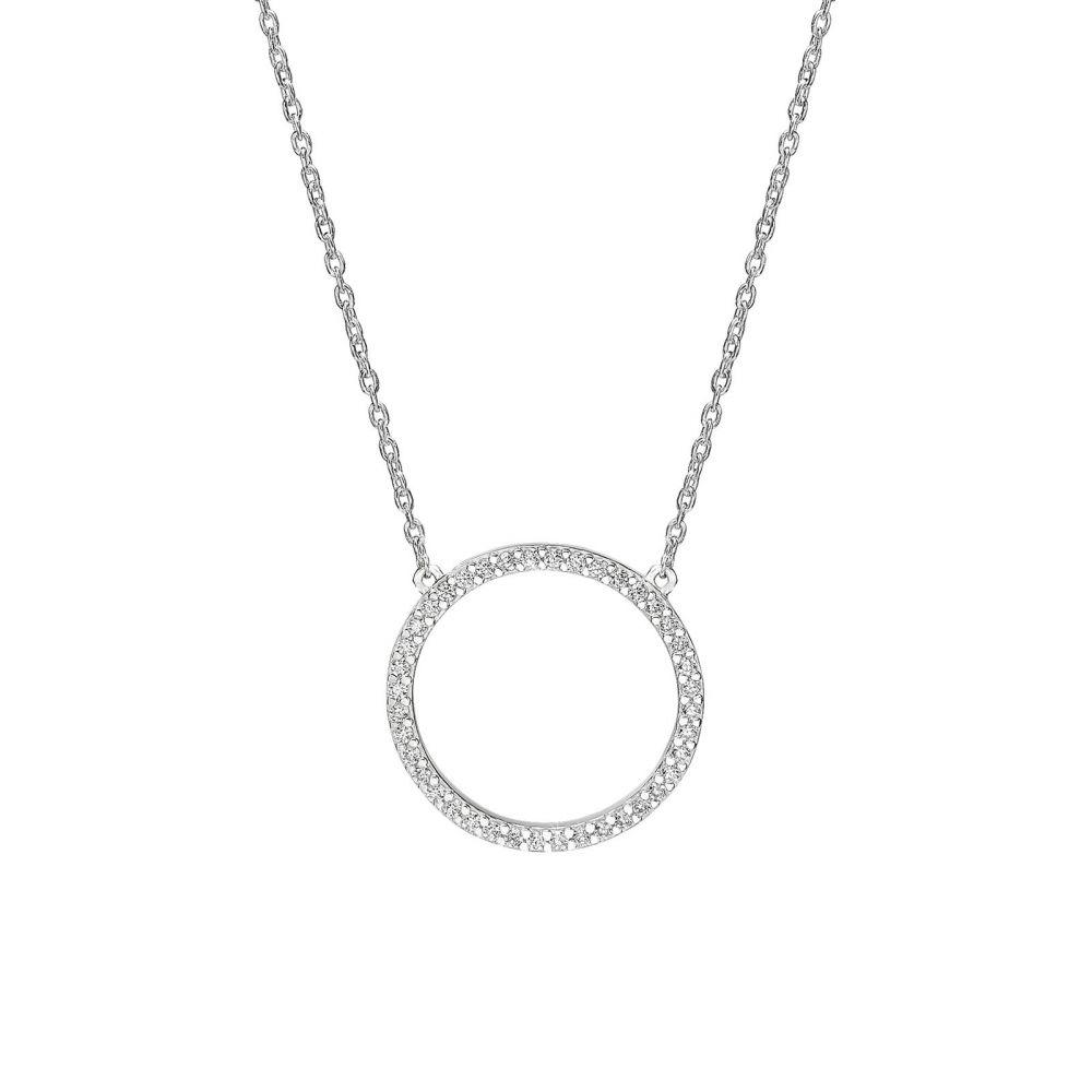 תכשיטי זהב לנשים | שרשרת ותליון מזהב לבן 14 קראט - מעגל החיים מנצנץ