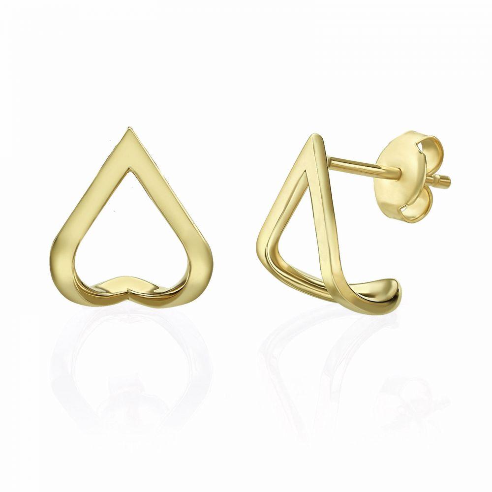 תכשיטי זהב לנשים | עגילים צמודים חובקים מזהב צהוב 14 קראט - לגונה