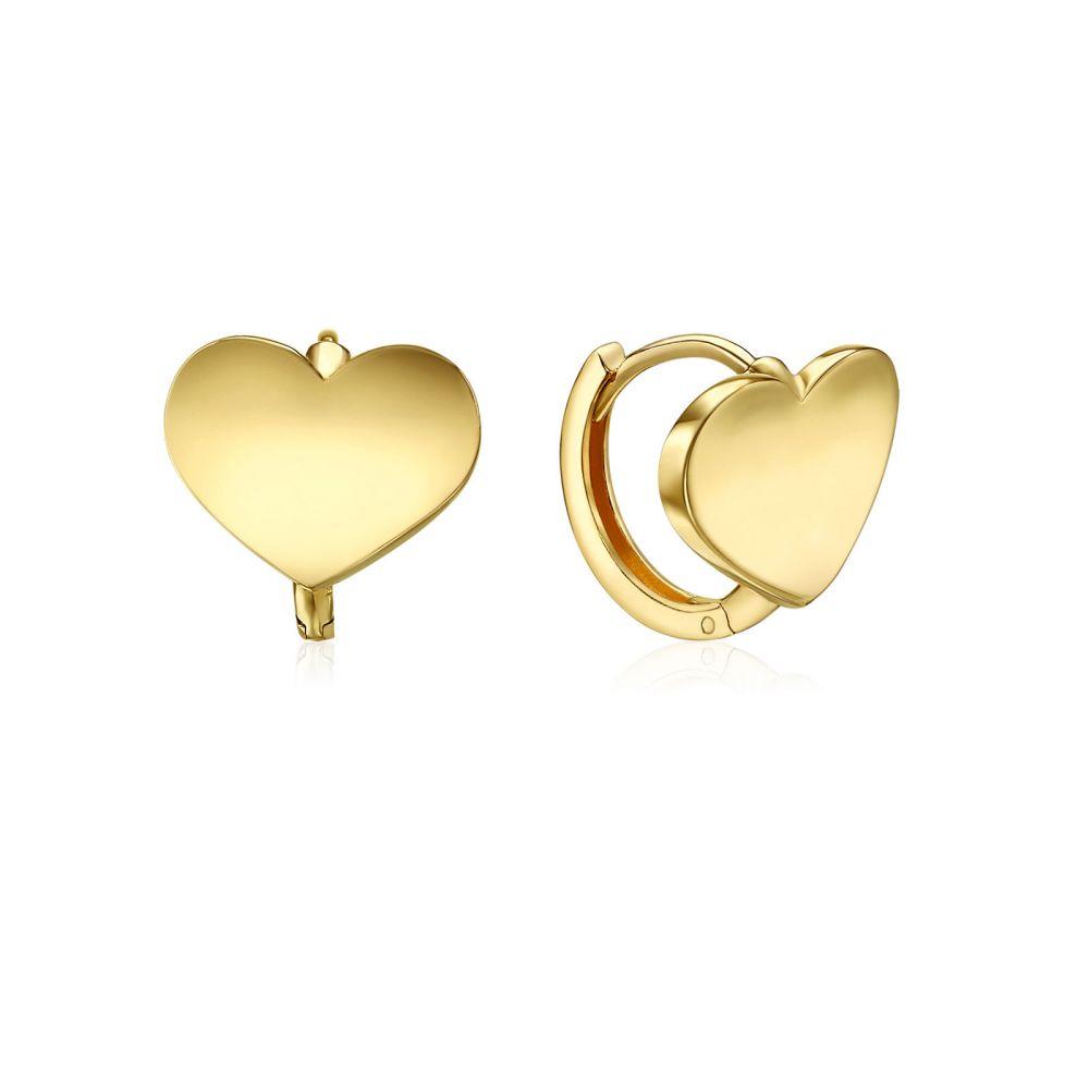 עגילי זהב | עגילי חישוק  מזהב צהוב 14 קראט - חישוק לב