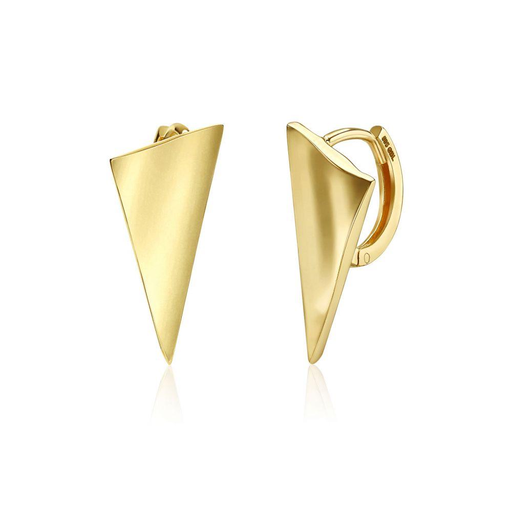 עגילי זהב | עגילי חישוק  מזהב צהוב 14 קראט - חישוק מפרש