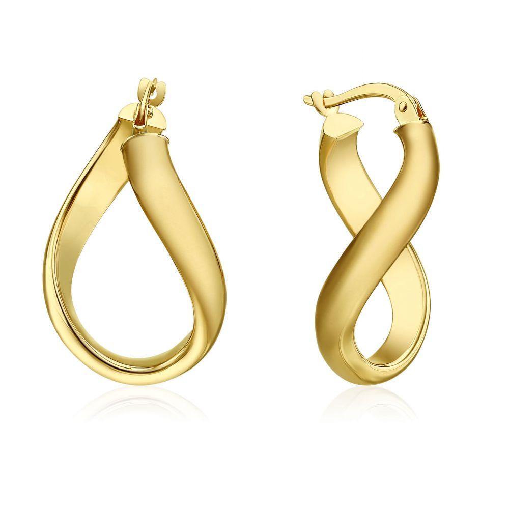 עגילי זהב | עגילי חישוק  מזהב צהוב 14 קראט - חישוק מפותל