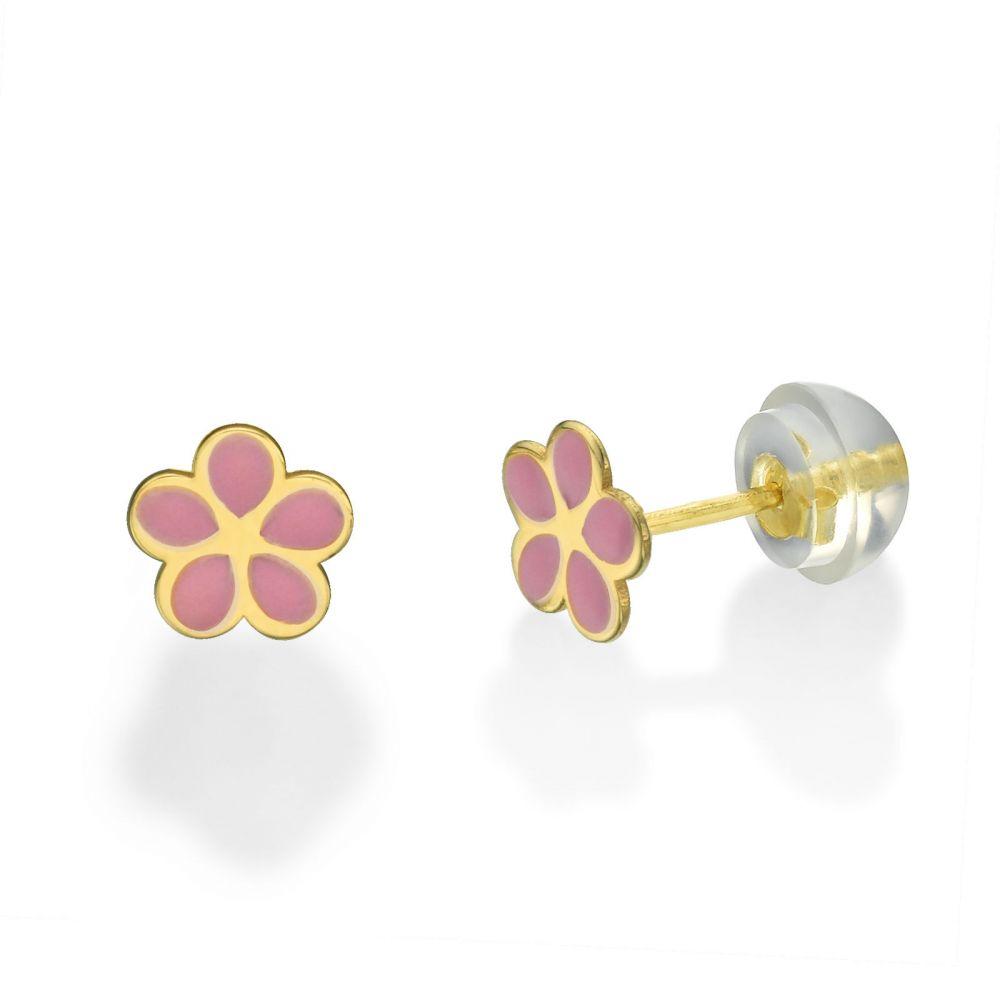 תכשיטים מזהב לילדות   עגילים צמודים מזהב צהוב 14 קראט - פרח ורדית