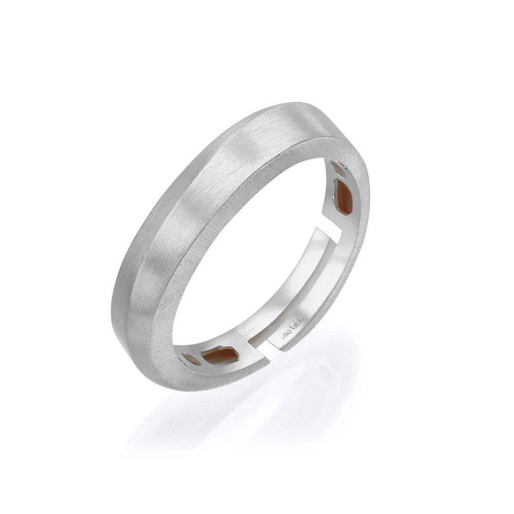 תכשיטי זהב לנשים | טבעת מזהב לבן 14 קראט - גל עדין מט