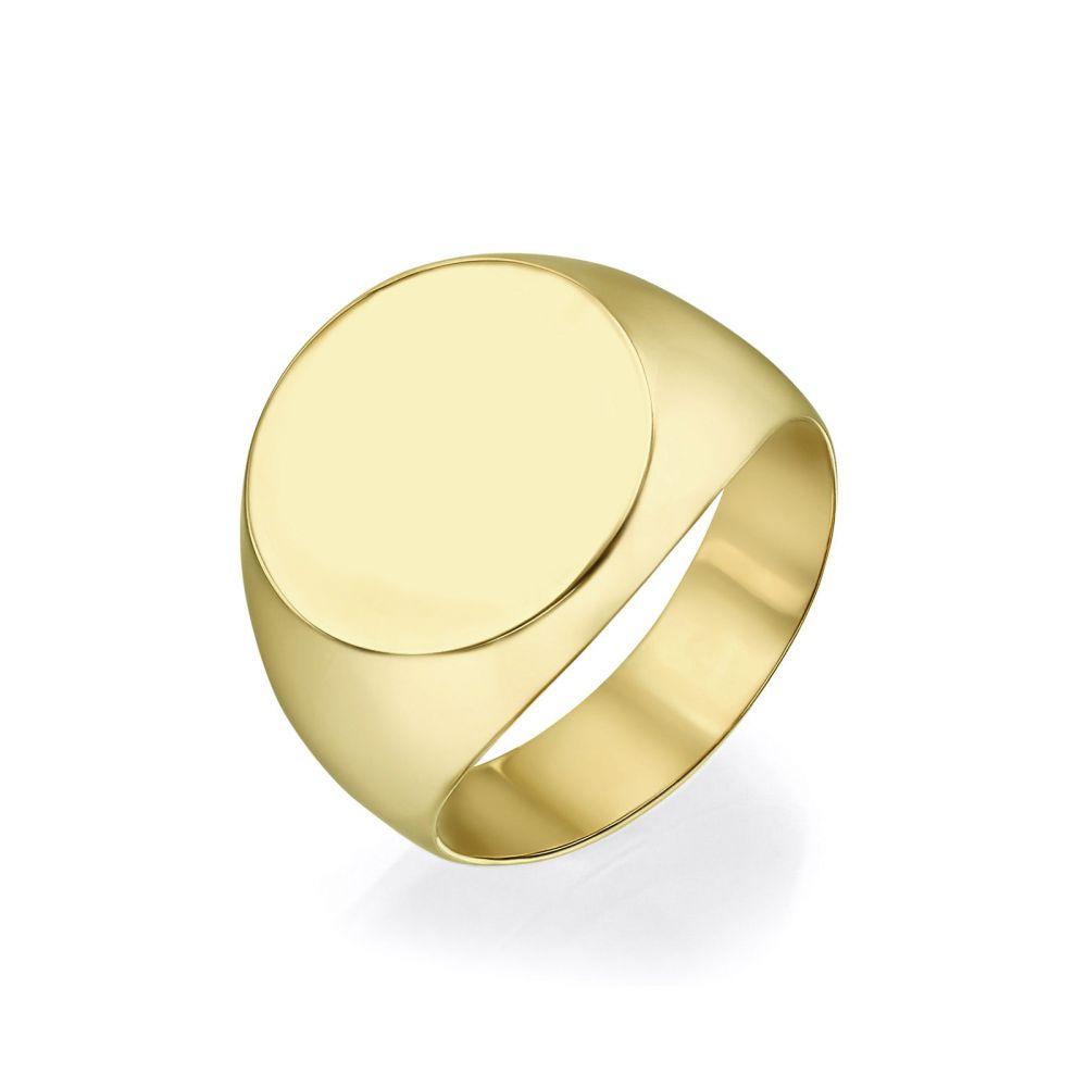 תכשיטי זהב לנשים | טבעת חותם מזהב צהוב 14 קראט - חותם מומבאי