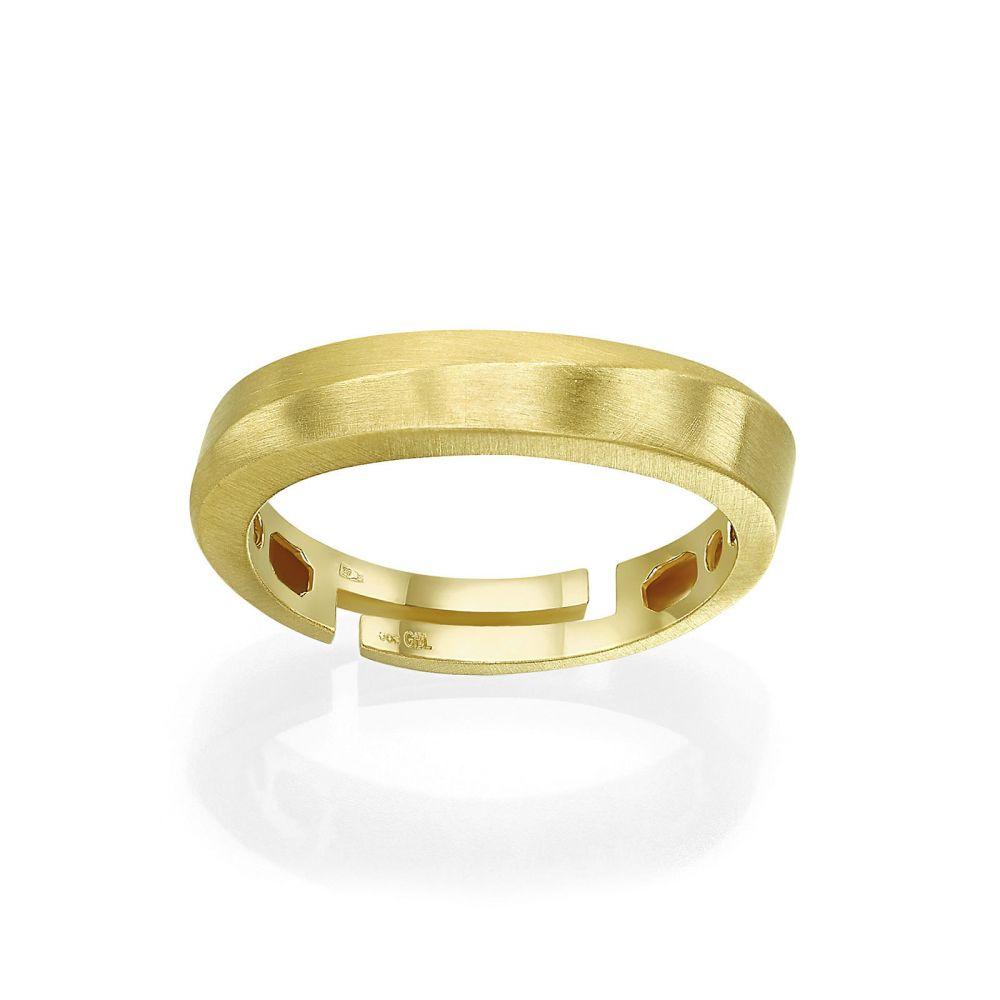 תכשיטי זהב לנשים | טבעת מזהב צהוב 14 קראט - גל עדין מט