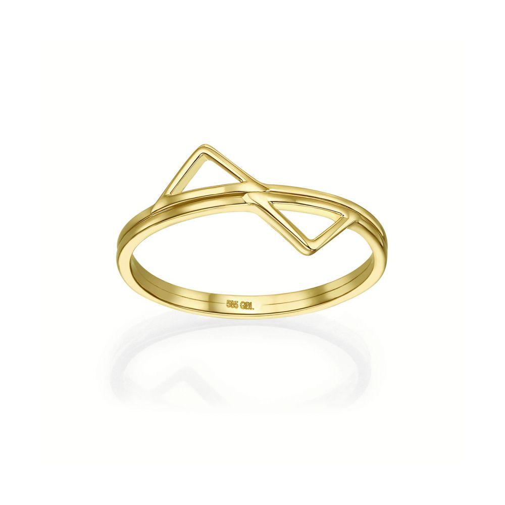 תכשיטי זהב לנשים | טבעת מזהב צהוב 14 קראט - פירמידות משתקפות
