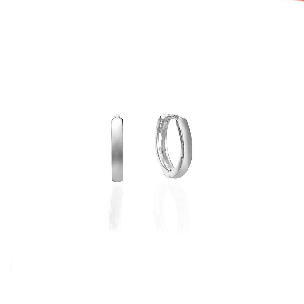 עגילי זהב | עגילי חישוק  מזהב לבן 14 קראט - חישוקי שר