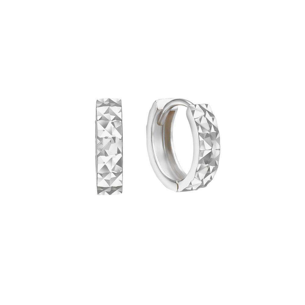 עגילי זהב | עגילי חישוק  מזהב לבן 14 קראט - חישוק חריטת יהלום קטן