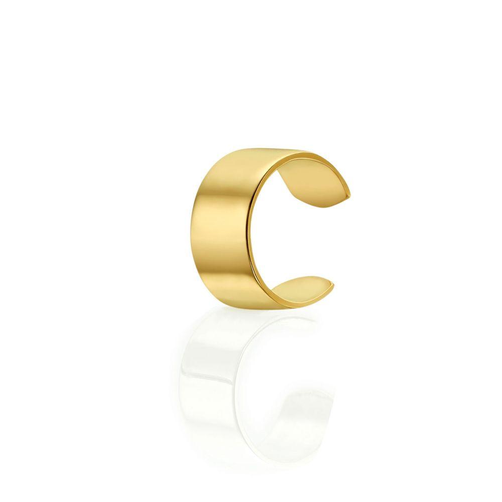 תכשיטי זהב לנשים | עגיל הליקס חובק מזהב צהוב 14 קראט - חישוק חובק רחב