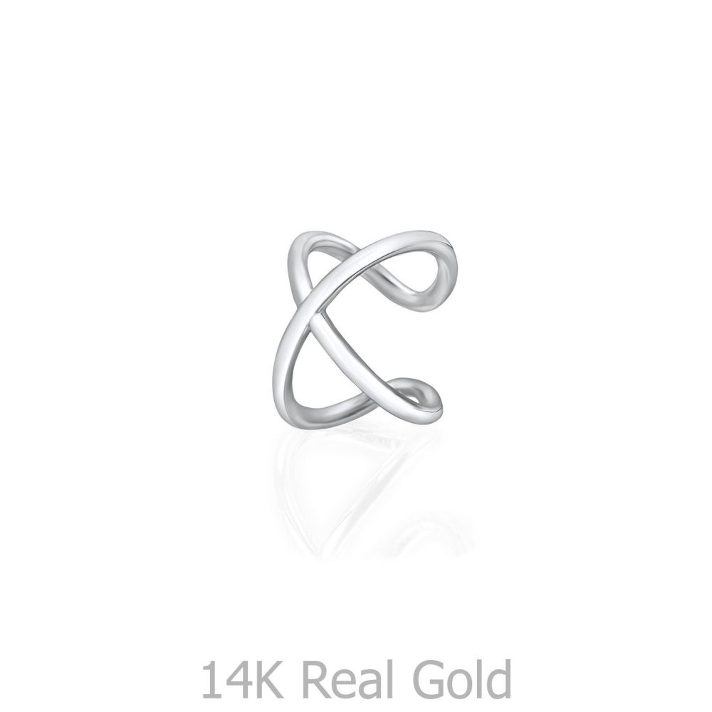 תכשיטי זהב לנשים | עגיל הליקס חובק מזהב לבן 14 קראט - איקס חובק