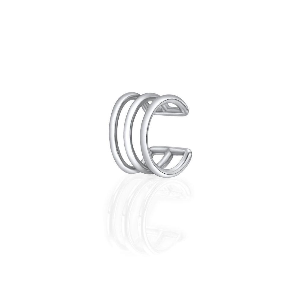 תכשיטי זהב לנשים   עגיל הליקס חובק  מזהב לבן 14 קראט - פסים חובק