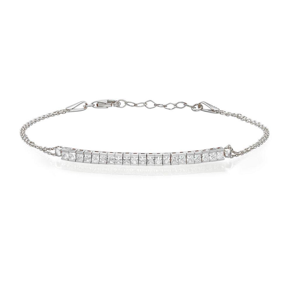 תכשיטי זהב לנשים   צמיד לאישה מזהב לבן 14 קראט - ברוק