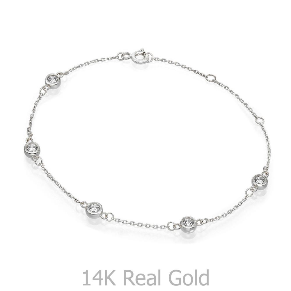 תכשיטי זהב לנשים | צמיד לאישה מזהב לבן 14 קראט - בלייק