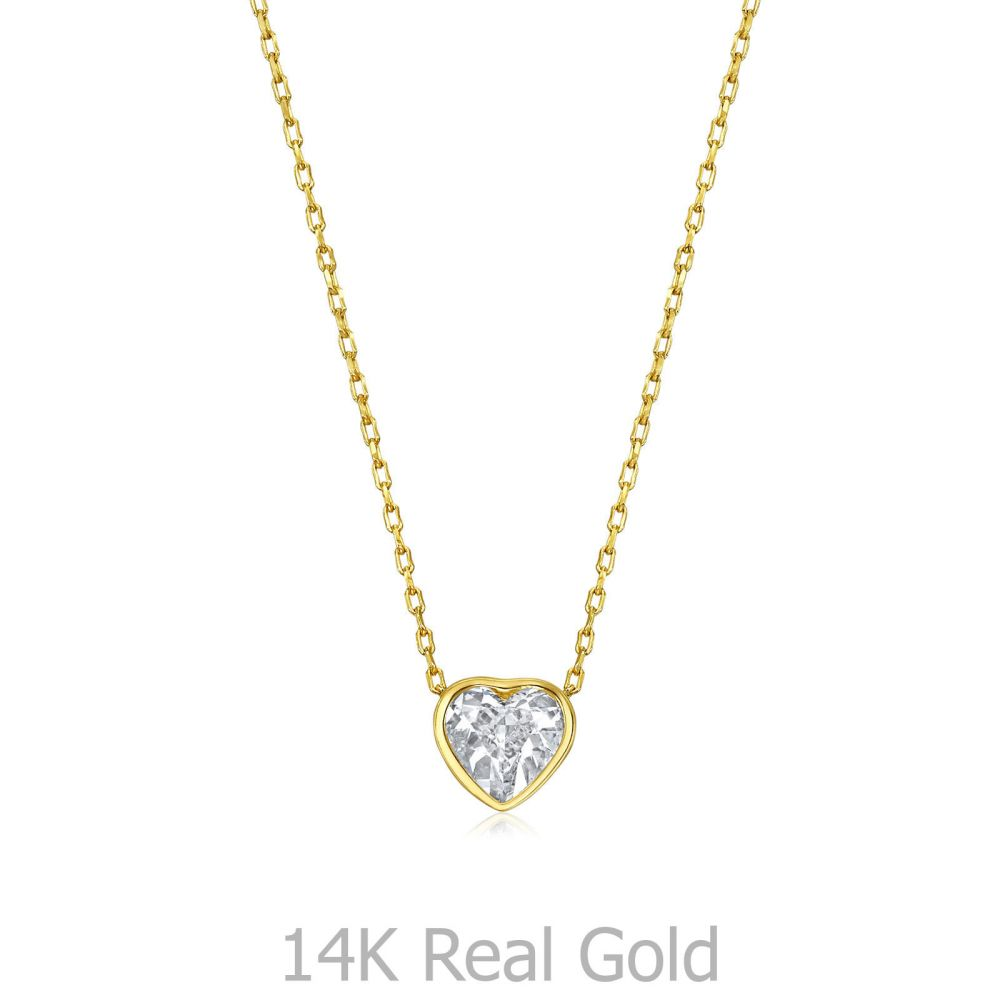 תכשיטי זהב לנשים | שרשרת ותליון מזהב צהוב 14 קראט - לב אוקיינוס