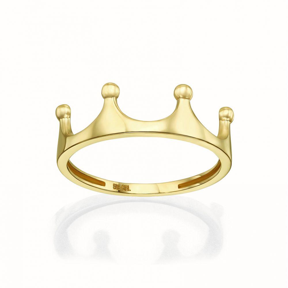 תכשיטי זהב לנשים | טבעת מזהב צהוב 14 קראט - כתר