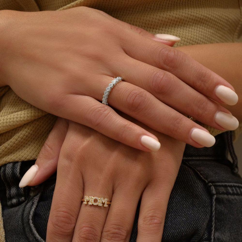 תכשיטי יהלומים | טבעת יהלום מזהב לבן 14 קראט - איזבל