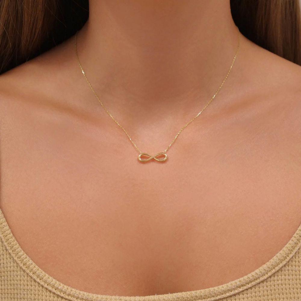 תכשיטי זהב לנשים | שרשרת ותליון מזהב צהוב 14 קראט - אינסוף תלת מימד