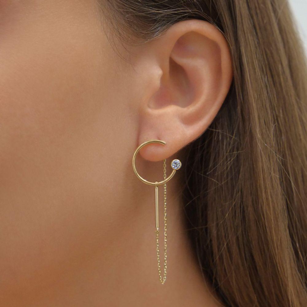 תכשיטי זהב לנשים | עגילים תלויים מזהב צהוב 14 קראט - ויולה מנצנץ