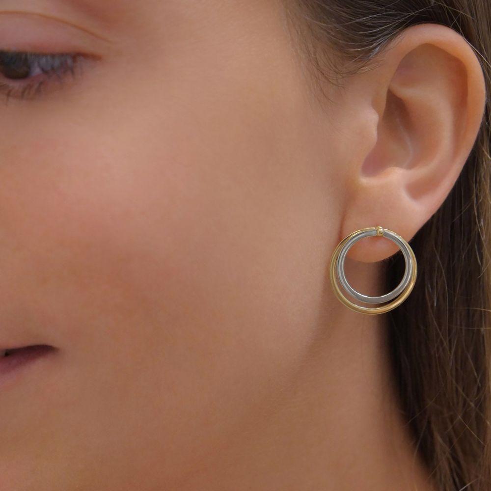 תכשיטי זהב לנשים | עגילים צמודים מזהב צהוב ולבן 14 קראט - ליקוי חמה